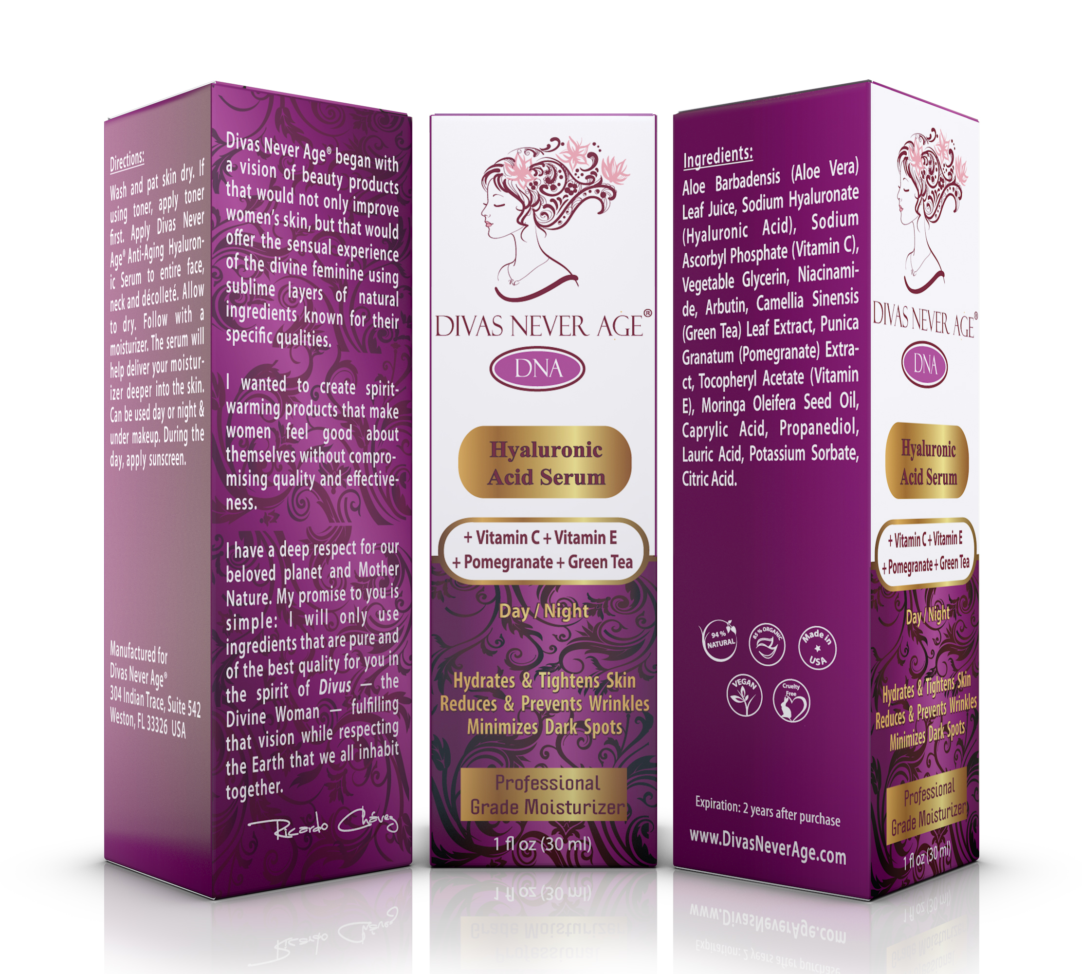 Divas Never Age® - Hyaluronic Acid Serum with Vitamins & Antioxidants